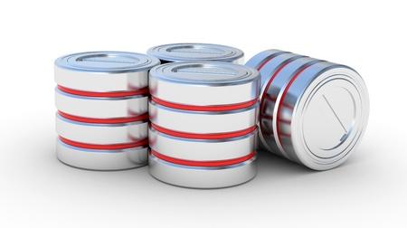 disco duro: Icono del disco duro, ilustraci�n 3d concepto de base de datos en un blanco