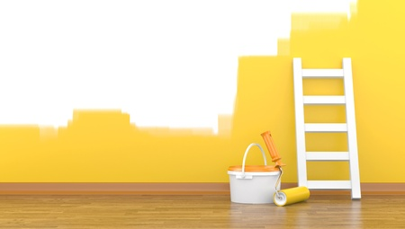painter: Paint, roller for a paint and a ladder near a wall of yellow colour  3d illustration