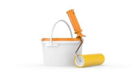 paint cans: bucket with paint and roller brush on white   3D illustration