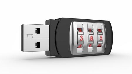 elementos de protección personal: Datos concepto de seguridad. USB Flash Drive con cerradura de combinación. Imagen 3D en blanco