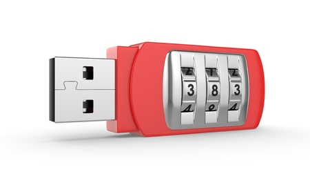 data theft: Data security concept  USB flash drive with combination lock  3D image on white Stock Photo