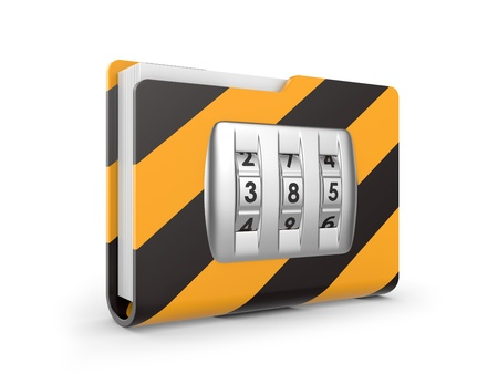 dialing: folder with dialing lock on a white background  security concept