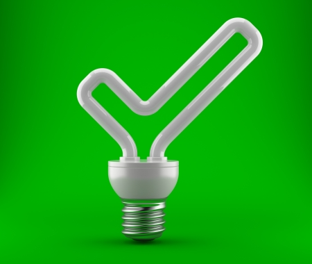 Bulb in the form of a ok check mark on a dark green background  3d an illustration Stock Illustration - 15109985