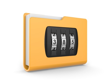 folder with dialing lock on a white background  security concept Stock Photo - 15302577