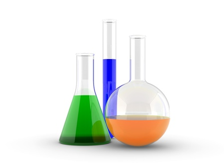 reagents: laboratory test tubes with reagents on a white Stock Photo