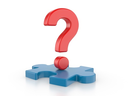 Question with puzzles  3d image on a white background Stock Photo - 15528045