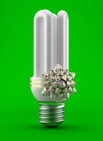 e27: Bulb with a bow gift  3d an illustration on a white background
