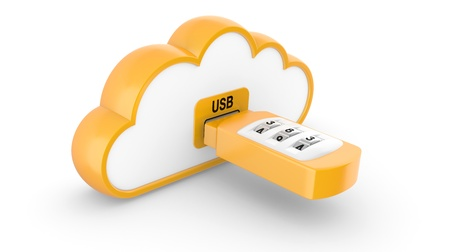 ccloseup: Data security concept  USB flash drive with combination lock and cloud  3D image on white