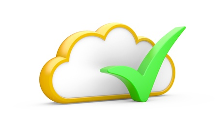 Cloud and sign  YES  on a white background Stock Photo - 15586112