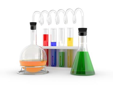 qu�mica: tubos de ensayo con reactivos en un blanco