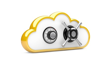Security concept  Combination lock and cloud  3D image on white Stock Photo - 15796550