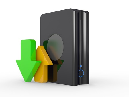 3d download icon with HDD and arrow Stock Photo - 15969444