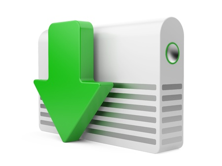 3d download icon with HDD and arrow Stock Photo - 15969441