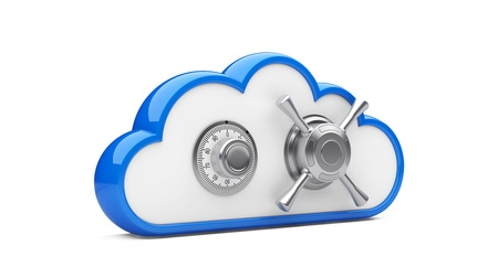 Security concept  Combination lock and cloud  3D image on white photo