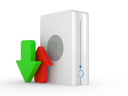 3d download icon with HDD and arrow Stock Photo - 16252739