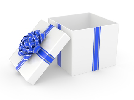 Open white Gift Box with blue glossy Ribbon Bow  3d illustration Stock Illustration - 16252748