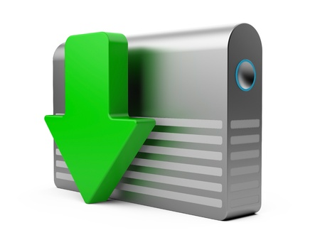 hdd: 3d download icon with HDD and arrow