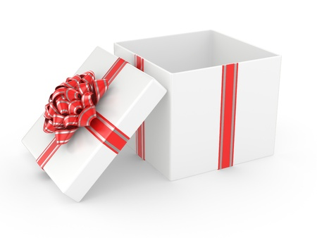 Open white Gift Box with Red glossy Ribbon Bow  3d illustration illustration