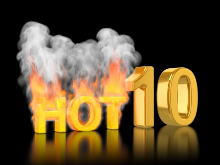 Rating of Top10, hot ten  The burn text on a black background photo