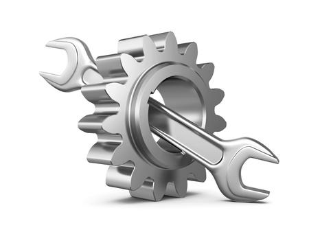 Stahlzahnrad und Schraubenschlüssel-Tool auf einem weißen Hintergrund. 3d illustration Standard-Bild