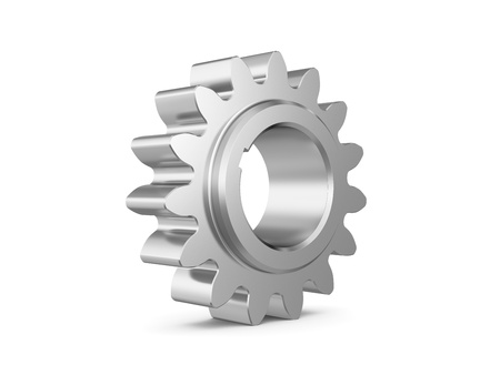 steel gear on a white background. 3d illustration Stock fotó