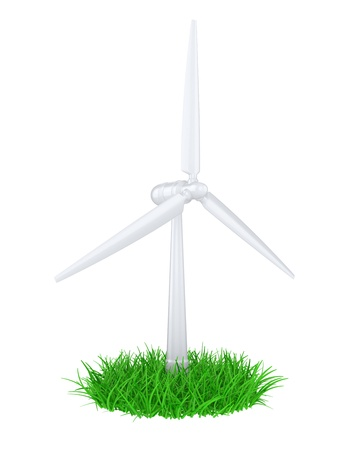 power in nature turbine: 3d illustration of a wind generator  on a green grass Stock Photo