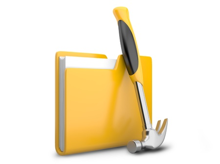dir: Yellow folder with hammer. Service tools icon 3d on white Stock Photo
