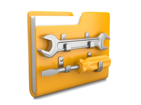 dir: Yellow folder with wrench and screwdriver. Service tools icon 3d on white Stock Photo