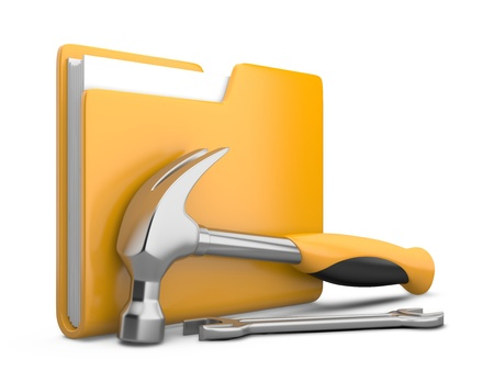 dir: Yellow folder with wrench and hammer. Service tools icon 3d on white