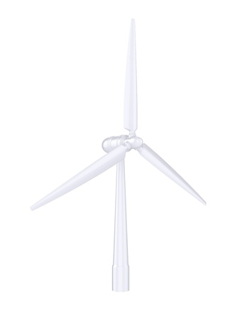 regenerating: 3d illustration of a wind generator on a white background