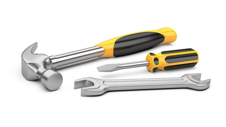 mechanic tools: Mechanic tools set. screwdriver, wrench and hammer isolated on white background. Stock Photo