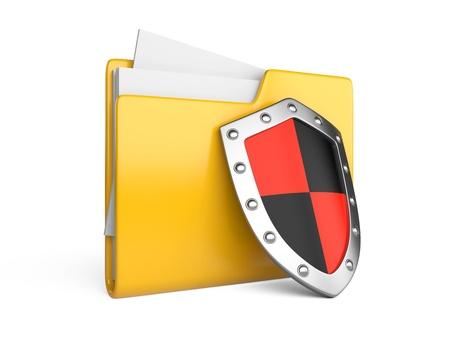 защита: Стальной щит, папки компьютера и файлов на белом backgrou Фото со стока