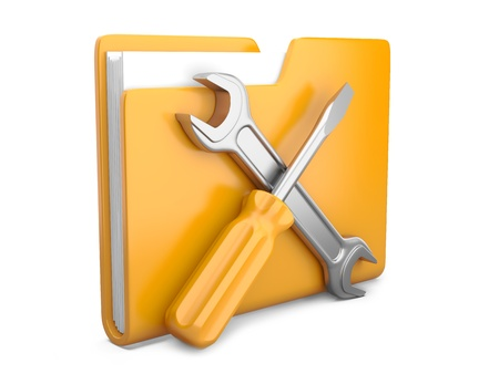 Yellow folder with wrench and screwdriver  Service tools icon 3d on white photo