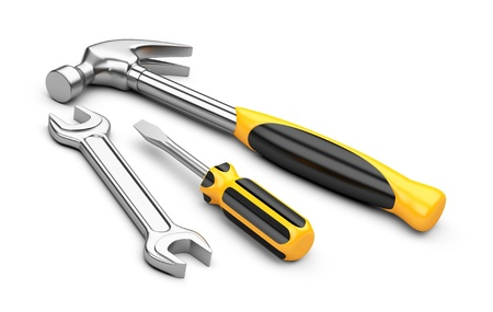 Mechanic tools set screwdriver, wrench and hammer isolated on white background