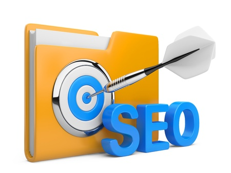 3D word SEO with Target, folder and Dart isolated on na white background Stock Photo - 17241698