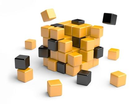 disorganized: Cube assembling from blocks. 3D Illustration isolated on white Stock Photo