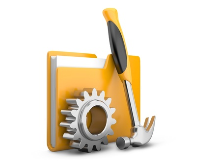 setup: folder icon with gear wheel and hammer  settings sign Stock Photo