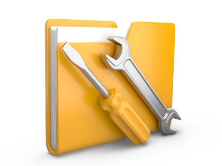 dir: Yellow folder with wrench and screwdriver  Service tools icon 3d on white