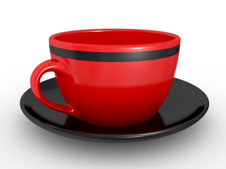 coffeecup: 3d illustration of Realistic red coffe cup over white background