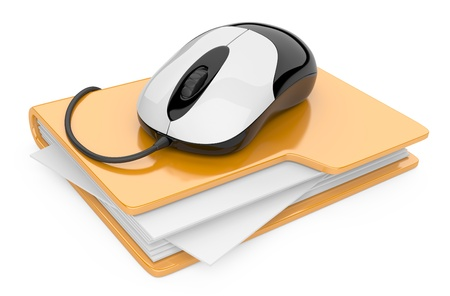 docs: Computer mouse connected to yellow folder. 3D illustration isolated on white