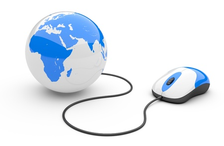 computer mouse: Computer mouse connected to a globe  3d illustration isolated on a white background Stock Photo