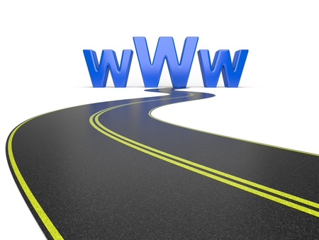 Internet symbol www and a long road, symbolizing of web traffic Stock Photo - 17590103
