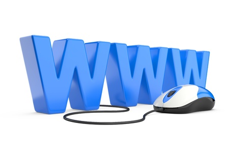 world wide: Internet symbol www connected to a mouse  3d illustration isolated on a white background