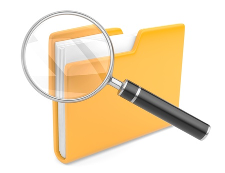 folder search icon - folder under the magnifier  3d illustration isolated on white Stock Photo