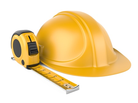 helm en meetlint 3d illustratie geïsoleerd op een witte achtergrond Stockfoto