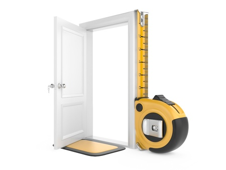 Tape measure and open door home  3d image isolated on a white background photo