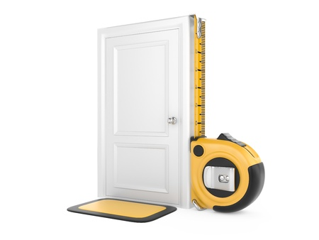 Tape measure and closed door home  3d image isolated on a white background photo