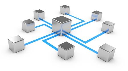 cable red: Comunicaciones abstractas sobre un fondo blanco, la concepción de la red, la comunicación 3d Foto de archivo