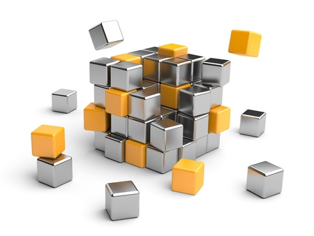 steel structure: Cube assembling from blocks  3D Illustration isolated on white Stock Photo