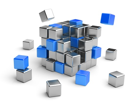 Cube assembling from blocks. 3D Illustration isolated on white Archivio Fotografico